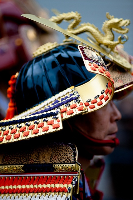 Samurai helmet-- surprisingly few dragons are depicted on oriental warwear