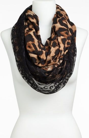 Nordstrom Lulu Animal Print & Lace Infinity Scarf $18