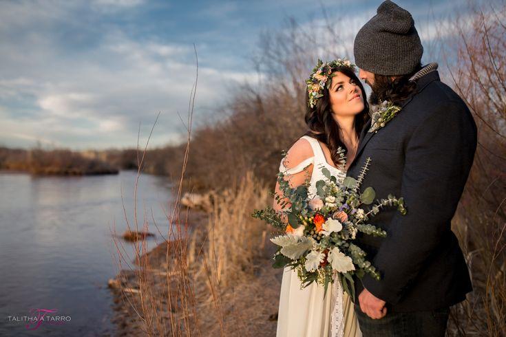 Corrales Bosque Elopement. Bride and Groom Waterfront Portraits. Winter Wedding Portrait. DIY Bridal Bouquet.