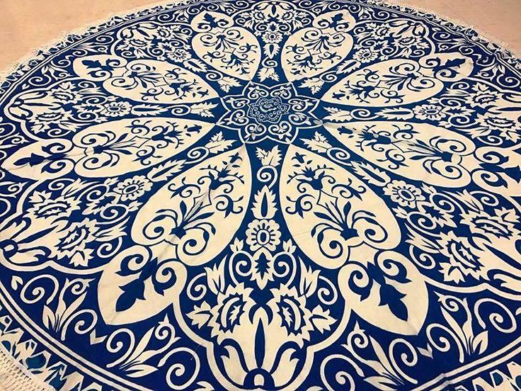 raajsee- indio Mandala redondo Roundie azul hojas Ombre Print manta de playa tapiz Hippy Boho Gypsy algodón mantel estera de Yoga toalla de playa de Yoga y Meditación # rnd24