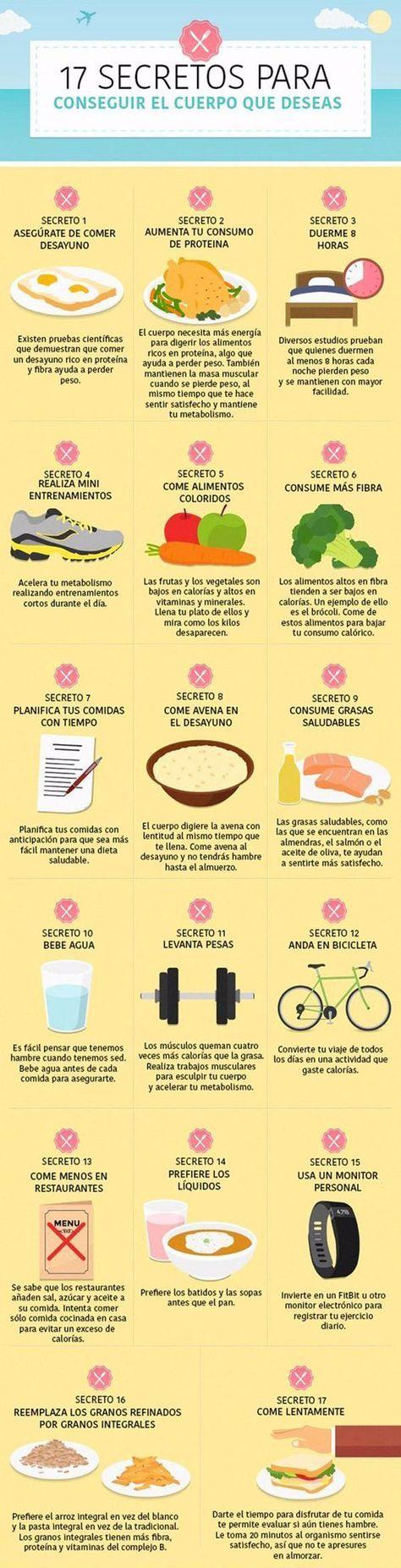 El cuerpo perfecto: 17 secretos para conseguirlo. #infografia #salud
