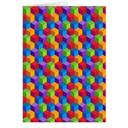 Rainbow Colorful Cube Pattern Card - patterns pattern special unique design gift idea diy