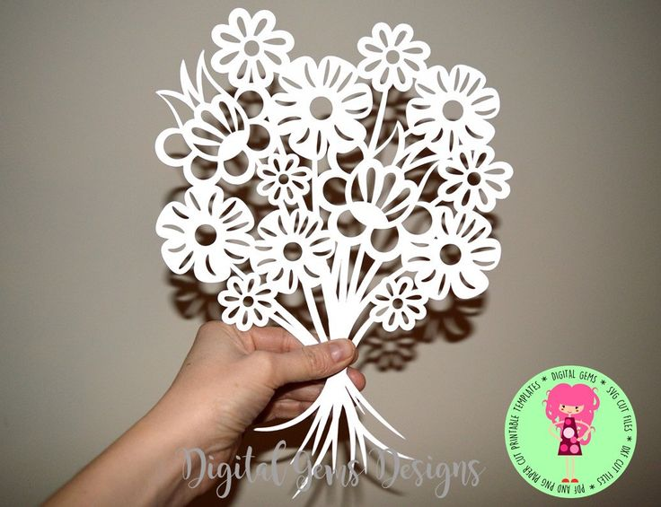 Flower Bouquet Paper Cut Template, SVG / DXF Cutting File for Cricut / Silhouette & PDF Printable For Hand Cutting, Download, Commercial Use by DigitalGems on Etsy