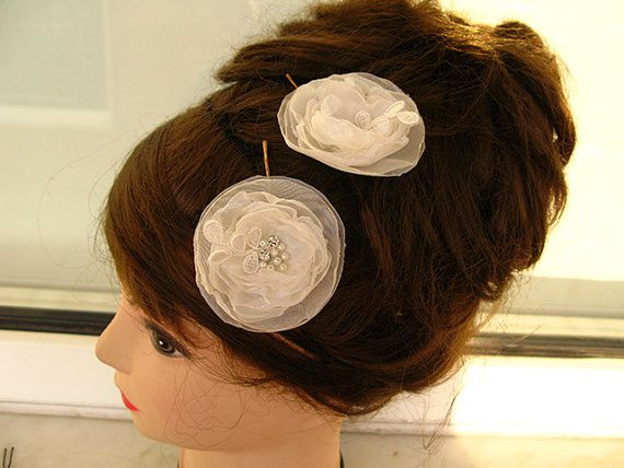 Beautiful Bobby Pins  Ivory Flowers hair pins set of 2 by nezoshop, $12.00