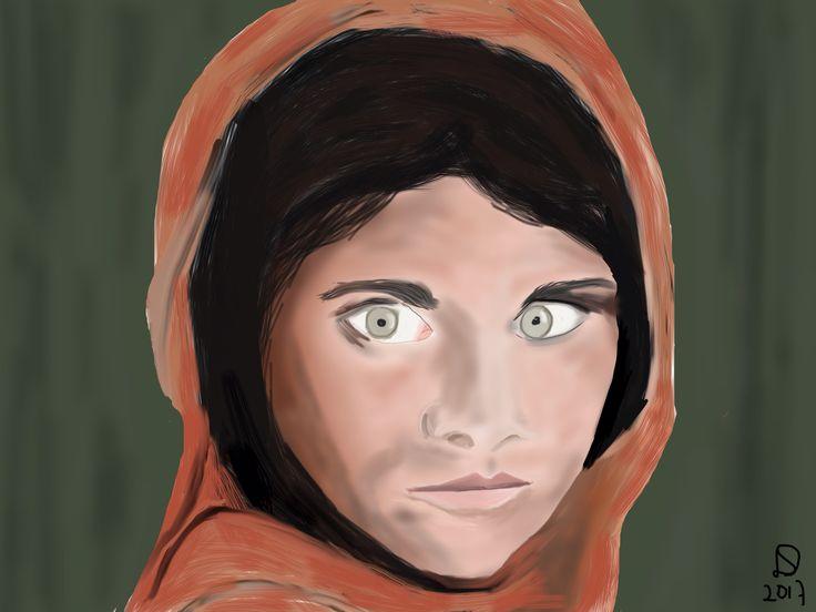 Afghaans meisje, iPad tekening