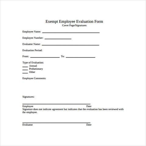 employee evaluation form template Manager Employee evaluation