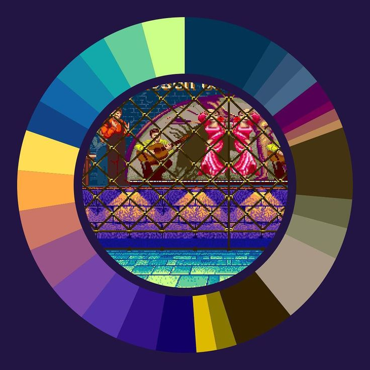 Vega Stage . Street Fighter II: Champion Edition . Capcom . 1992 . #game #colorwheel #color #palette #colorscheme #pixelart #streetfighter #capcom #arcade #retrogames #gameart #digitaldesign #graphicdesign #webdesign #vega #spain