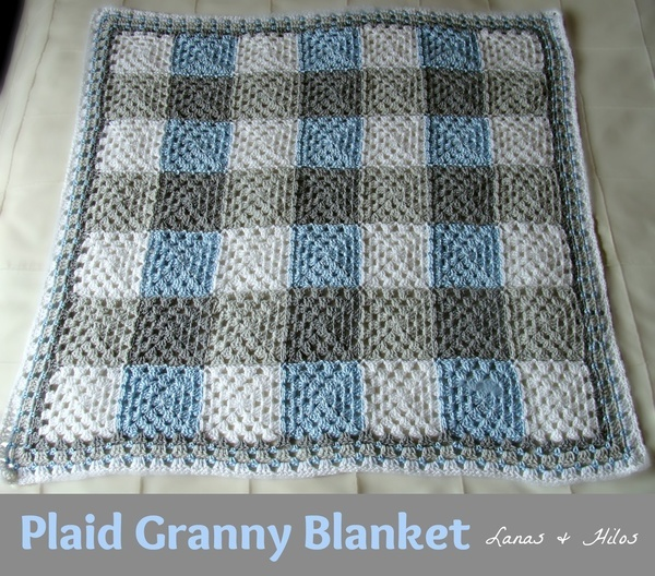 PLAID GRANNY BLANKET  in Grey/Light Blue/White. This is on my hook right now!  Can't wait to see how it turns out!