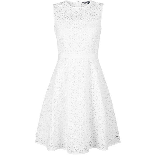 Tommy Hilfiger Hadi Sleeveless Dress found on Polyvore featuring dresses, white, transparent dress, sleeveless dress, see through dress, floral print dress and white sheer dress