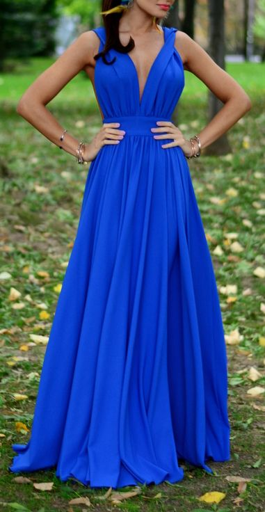 Deep V Neck Jersey Sexy Prom Dress Royal Blue Formal Evening Gown Wedding Party Dress
