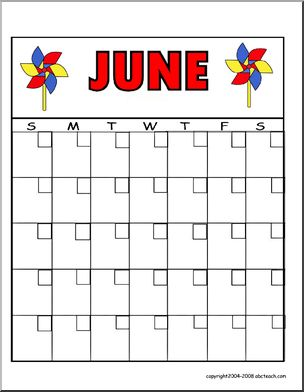 Calendar: June - fill in the dates (pinwheel image)