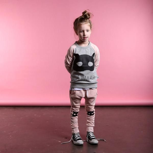 Minti Drop Trackies in Blush Marle Cat Mask Knees in a lovely soft pink/apricottone Super basic to add to a little stylers wardrobe. Easy to mix and match. Comfy and trendy and dependablequality. Minti area boutique kids clothing brand based in Melbourne, Australia. Their design's are all about what that we think we'd like to wear(if we were small of course). The fabulous range are stocked here at Little Styles Online.