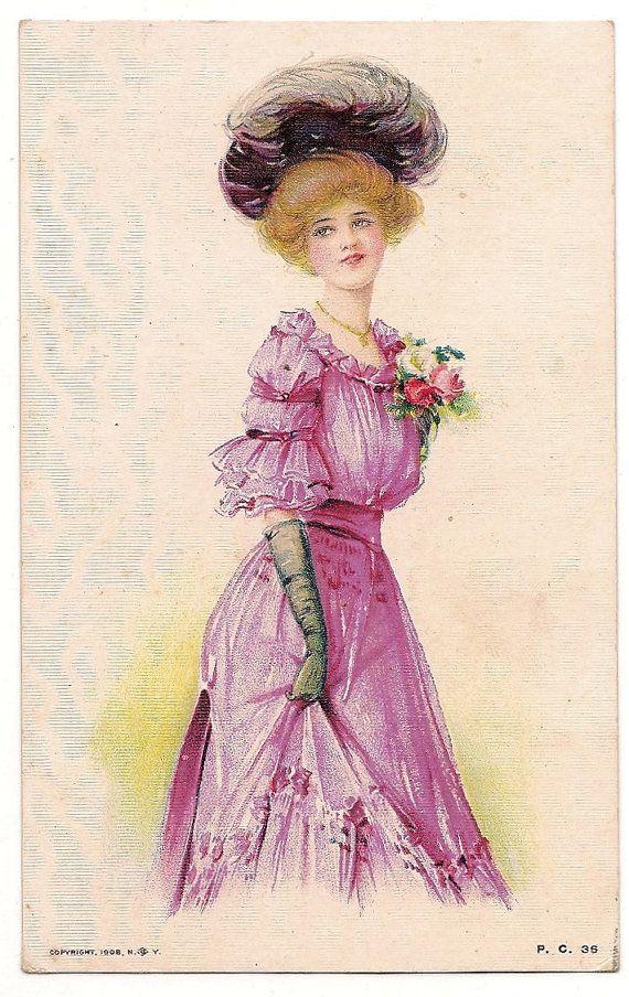 Ca 1908 Fashionable Lady  Victorian Art Postcard - 563. $8.99, via Etsy.