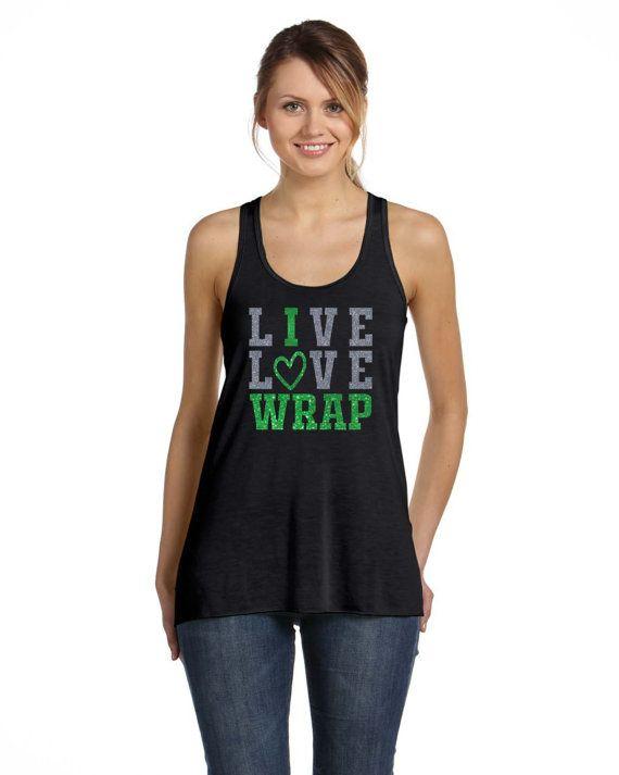 Wrap Shirt  LIVE LOVE WRAP  Silver and Green by bdcornelius
