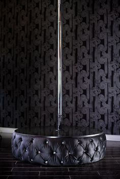 TUFTED VELVET MINI STAGE WITH STRIPPER POLE - ACCENTED WITH SWAROVSKI CRYSTALS