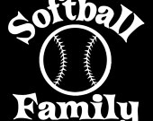 """Softball Family"" car window decal"