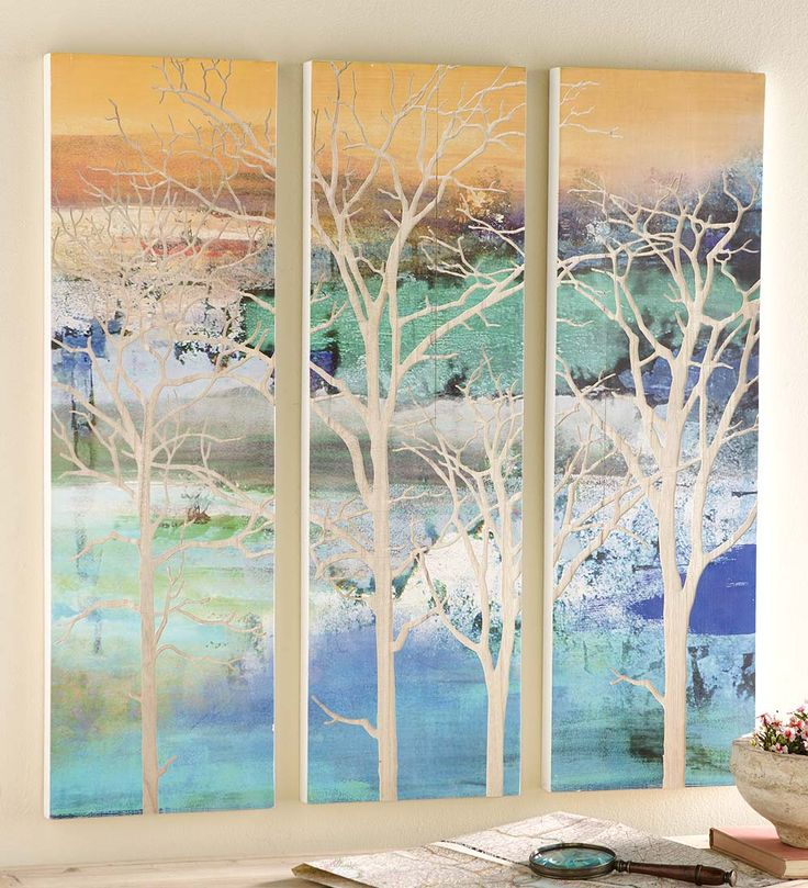 Tree Wall Paneling : Wood composite three panel tree wall art is absolutely