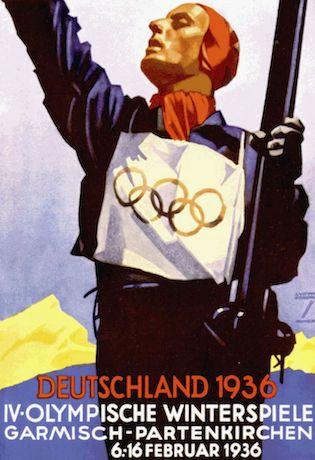 Affiche des Jeux d'hiver de Garmisch en février 1936. Tirée du livre officiel : IV Olympic Winter Games Garmisch 1936