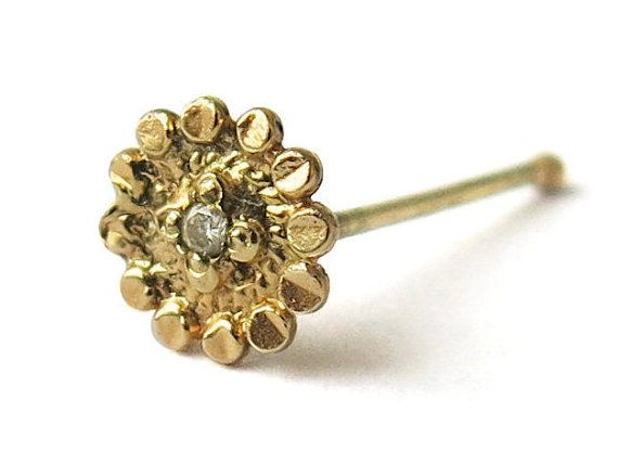 Handmade Sunflower nose stud\ natural white diamond 0.5 points\ 14k yellow gold\ indian nose stud\ 0.6 mm\ 22 gauge\ bridal nose ring  This stud