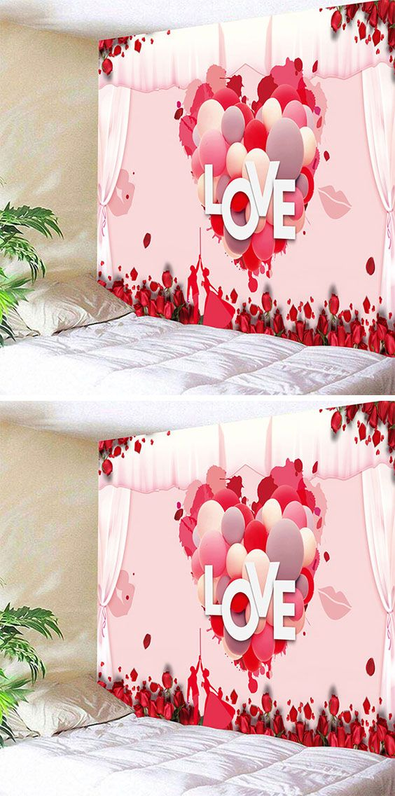 a321632c90 Valentine s Day Love Heart Pattern Wall Art Tapestry