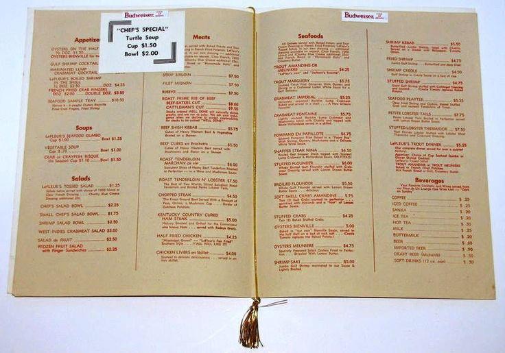 Lefluer's Restaurant, menu circa 1968.