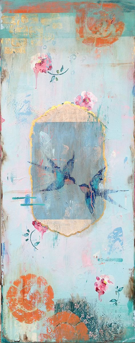 Kathe Fraga paintings, inspired by the romance of vintage French wallpapers and Chinoiserie with a modern twist. www.kathefraga.com (40x16 on frescoed canvas.)