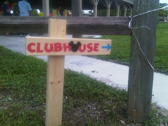 Mickey Mouse Clubhouse Wood Birthday Sign Outdoor Post for sale - $40.00 - www.StudioDBoutique.etsy.com