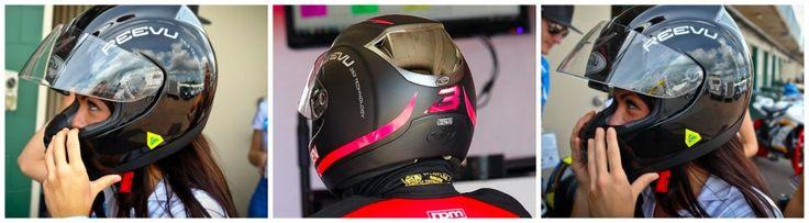 reevu motorbike helmets and woman wearing one - I want one :)