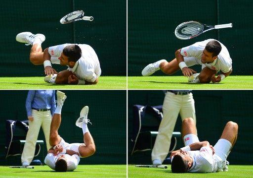 テニス、ウィンブルドン選手権(The Championships Wimbledon 2014)男子シングルス3回戦。コートに倒れ込み、肩を押さえるノバク・ジョコビッチ(Novak Djokovic)のコンボ写真(2014年6月27日撮影)。(c)AFP=時事/AFPBB New...