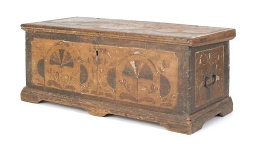 1770 Pennsylvania painted dower chest.  Collection of Lester Breininger
