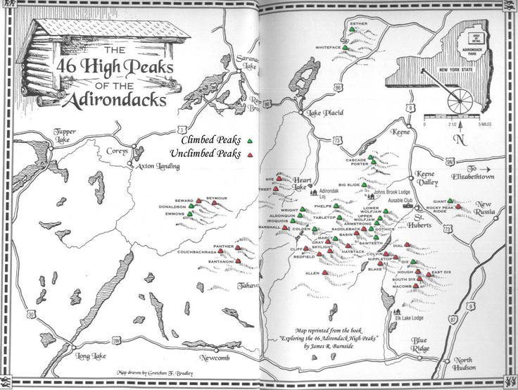 46 High Peaks Adirondacks Map Google Search Hiking