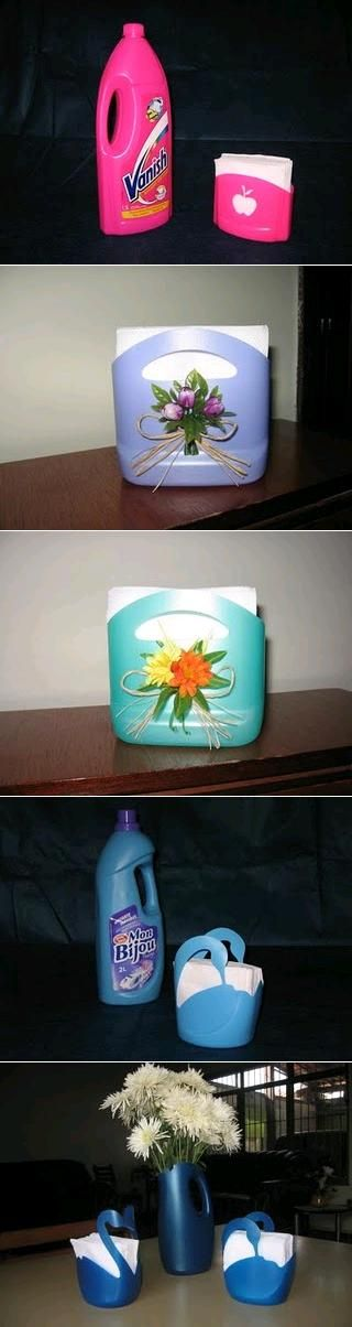 DIY Plastic Bottle Napkin Holder. UUUGGGHHHHH recycling- good. Transforming garbage into.....garbage. Hideous.: