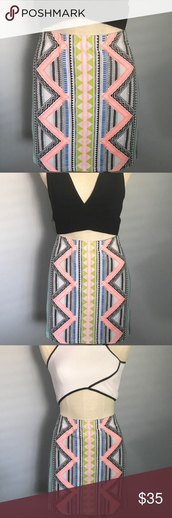 SPORTSGIRL Neon Aztec print skirt Stand out in the crowd with this Aztec print skirt in FUN, BRIGHT colors! Purchased in Australia and wore to a beach event in Sydney...it was perfect!!💋 Worn once, like new✨  BNWT Nasty Gal tops also available in my closet🙌🏼 Skirts Mini