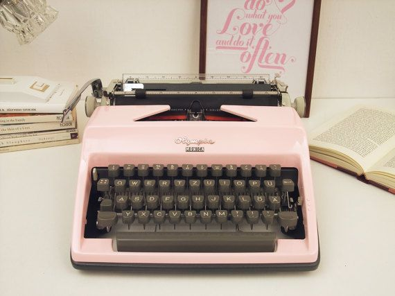 Pink Typewriter Olympia Monica Custom Painted by ModernLifeArt