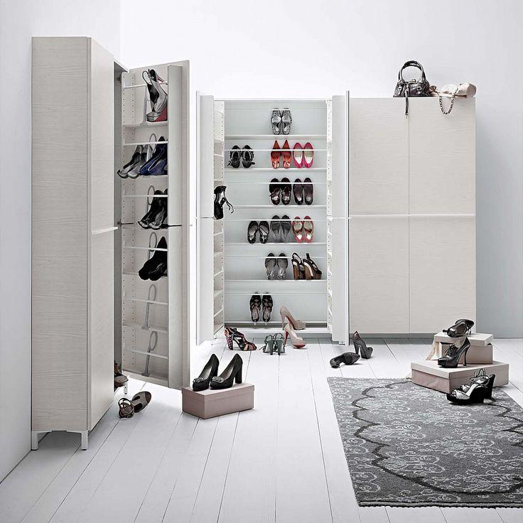 Hallway shoe organizer with mirror front Linear by Birex