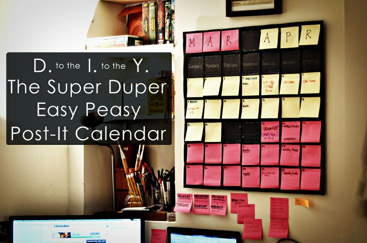 easy post-it calendar
