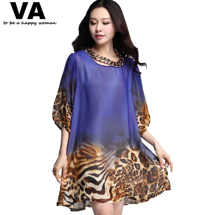 Va 2015 nouveau mode femme été Plus grande taille Casual en mousseline de soie Floral imprimé léopard Mini robe robes 6 couleurs XXL XXXL P0435 dans Robes de Accessoires et vêtements pour femmes sur AliExpress.com | Alibaba Group
