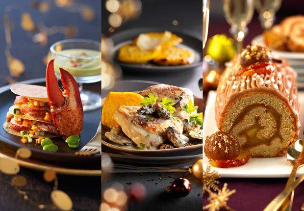 Menu Grand JeuVoir la recette duMille-feuilles de homard aux févettes >>Voir la recette duChapon sauce aux morilles, flans de potiron >>Voir la recette de laBûche en pain d'épice aux pommes >>