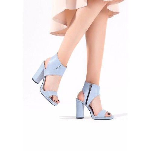 Tek Açık Mavi Cilt Yandan Fermuarlı Bayan Topuklu Ayakkabı 84,00 TL ve ücretsiz kargo ile n11.com'da! Erbilden Klasik Topuk fiyatı Ayakkabı