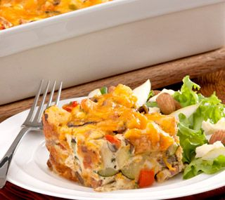 Thrifty Foods - Recipe - Canadian Bacon, Cheddar and Vegetable Strata