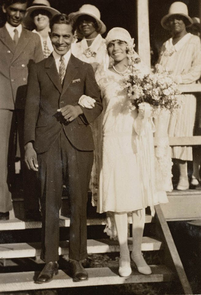 1930 aborigine newlyweds in the segregation community of Cherbourg in Queensland, Australia.  Native people of 109 different areas of the state of Queensland were relocated to the town of Barambah in the early 1900s, later renamed Cherbourg. They were mixed together and not allowed to speak their own languages. More from Wiki: From 1905 until 1939, in total 1587 Indigenous people were removed to the settlement from all across the state.