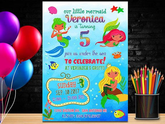 Mermaid Birthday Invitation Beach Birthday Mermaid Invite