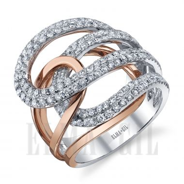 ELMA*GIL 18K Rose and White Gold Diamond Fashion Ring DR-452