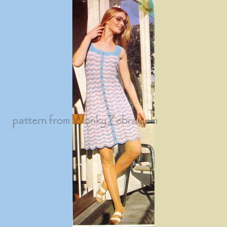 WZ158 vintage crochet chevron sundress pattern. From wonkyZebra.com