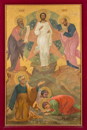 A Large Antique Russian Icon Depicting the Transfiguration of Jesus Christ image 2