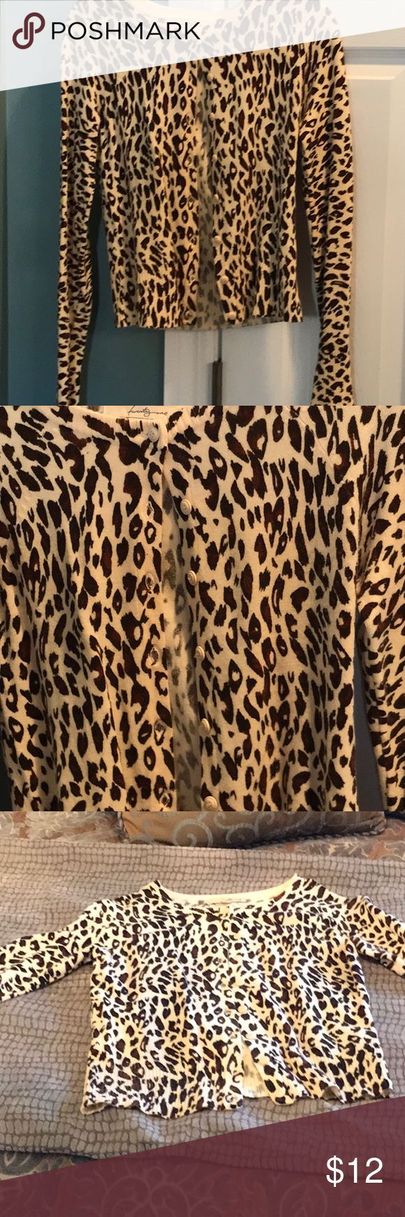 Leopard print cardigan size medium Excellent condition leopard print cardigan   Size medium. Sweaters Cardigans