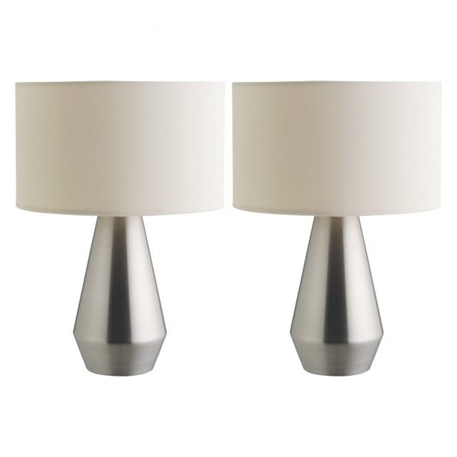MAYA Pair Of Silver Metal Touch Lamps With Cream Fabric Shades