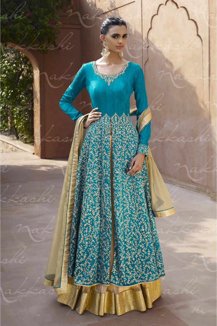 Blue and Beige Colour Bhagalpuri and Santoon Fabric Designer Semi Stitched Salwar Kameez Comes With Matching Bhagalpuri Fabric Bottom and Chiffon Fabric Dupatta. This Suit Is Crafted With Diamond Work...