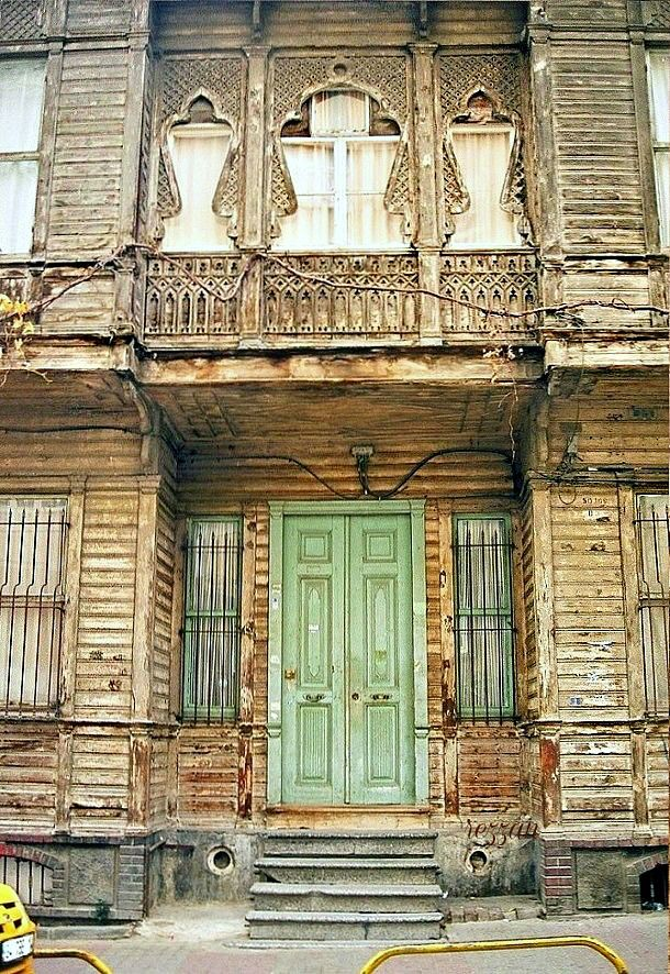 Old mansions of Istanbul; door and windows detail. Photo by Rezzan Akin.  Turkey.