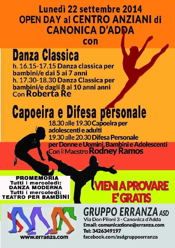 Locandina Lezioni gratuite di danza<br/>classica, Capoeira e Difesa<br/>personale